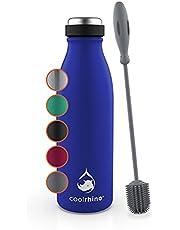 coolrhino Roestvrijstalen drinkfles, 500 ml, 1 liter, geschikt voor koolzuur, geïsoleerde fles met reinigingsborstel, BPA-vrij, lekvrij, thermosfles & theefles voor universiteit, school, fitness, outdoor, camping