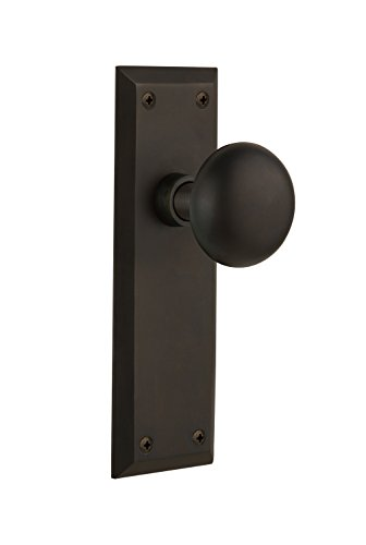 Nostalgic Warehouse NYKHOM-10-OB New York Plate with Homestead Knob Complete Passage Set, Oil Rubbed Bronze Over Passage Set