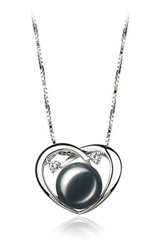 Katie Heart Black 9-10mm AA Quality Freshwater 925 Sterling Silver Cultured Pearl Pendant For ()
