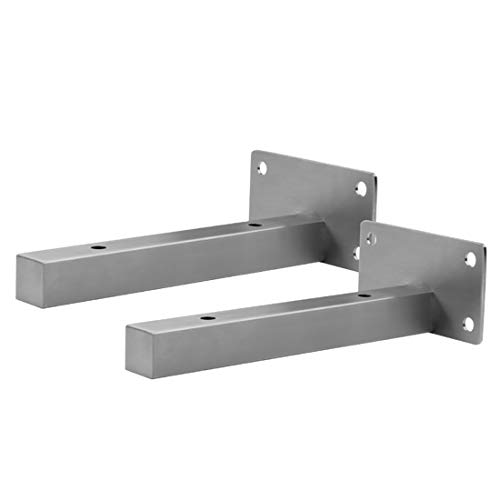 ZZZGY Shelf Bracket Stainless Steel,Heavy Duty Metal Wall Brackets, Black and Silver Shelf Support Frame,Suitable for Living Room bedrooms, etc,with Rubber Stopper and self-Tapping Screws,2 pc ()
