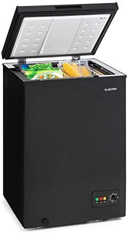 Klarstein Iceblokk 100 – congelatore a pozzetto, scomparto freezer a 4 stelle, caricamento dall´altro, 100 L di volume, 75 W, regolatore di temperatura continuo, nero [classe energetica A +]