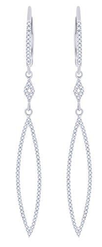 Rount Cut White Natural Diamond Open Arrow-Stiletto Dangle Earring in 14K White Gold (0.34 Cttw)
