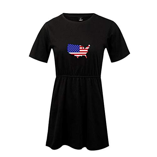 Misaky Women's Dresses Casual Independence Day American Flag Print Round Neck Short Sleeve Mini Dress(Black) ()