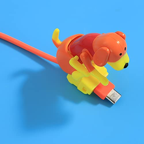 Stray Dog Charging Cable, Toy Dog Smartphone Charging Line Cute Micro Type-C Small Puppy Data Cable (Orange, Type-C)