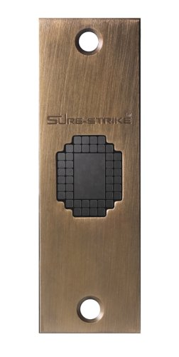 Sure-Strike Self Adjusting High-Security Strike Plate with Antique Brass Cover Plate