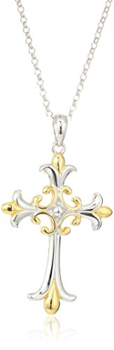 18k Yellow Gold Plated Sterling Silver Two Tone Celtic Cross Pendant Necklace, 18