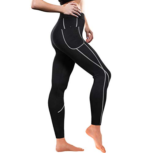 - Women Weight Loss Hot Neoprene Sauna Sweat Pants with Side Pocket Workout Thighs Slimming Capris Leggings Body Shaper (Full Length Black, XL)
