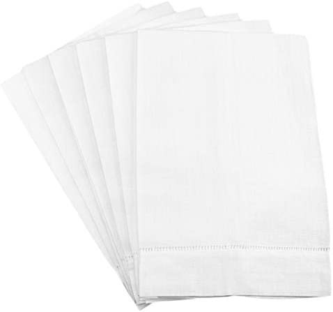 6 Pack Cleverdelights White Linen Hemstitched Hand Towels 14 X 22 100 Linen Tea Towels Home Kitchen