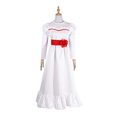 Mocona Women's Annabelle Role Play Costume Horror Scary Party White Dress (Large, White)