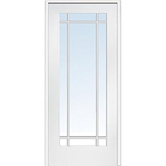 National Door Company Z009310L Primed MDF 9 Lite Clear Glass Left Hand Prehung Interior Door 30\
