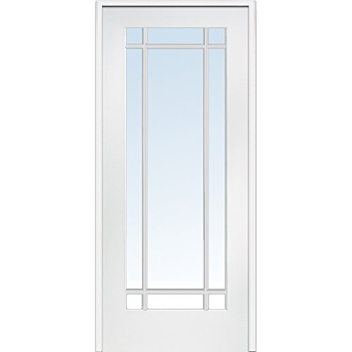 National Door Company Z009310L Primed MDF 9 Lite Clear Glass, Left Hand Prehung Interior Door, 30'' x 80'' by National Door Company