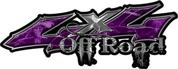 REFLECTIVE Off Road Twisted Series 4x4 Truck Bedside or Fender Emblem Decals in Purple Camouflage