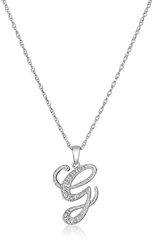 Sterling Silver Initial G Diamond Pendant Necklace (0.03 cttw, I-J Color, I2-I3 Clarity), 18