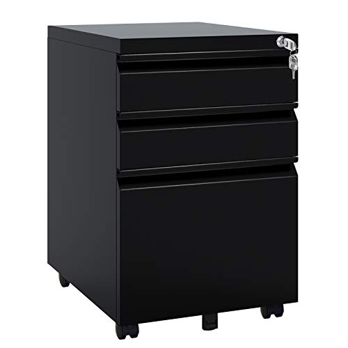 DEVAISE Locking File Cabinet, 3 Drawer Rolling Metal Filing Cabinet, Fully Assembled Except Wheels, Black (Cabinet Rolling)