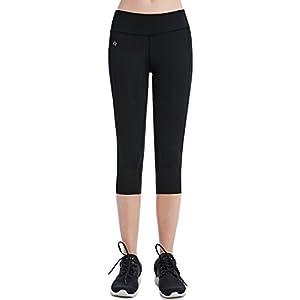 FITTIN Women's Yoga Capris Leggings With Pocket - Yoga Pants For Running Sports Fitness Workout Gym Medium Black