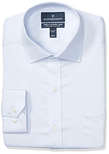 BUTTONED DOWN Men's Tailored Fit Stretch Twill Non-Iron Dress Shirt, Light Blue Ice, 18