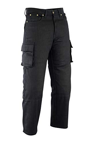 Motorbroek voor heren 6 zakken Kevlar zwart denim jeans/cargo met protectoren – Verkrijgbaar In Alle Maten