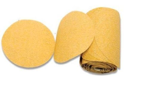 Karebac LR5C80 Premium Gold 5'' PSA 80 Grit C-Weight Aluminum Oxide Stearated Sanding Discs 100 Discs/Linkroll