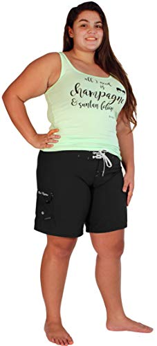 Maui Mermaids Womens Plus Size Bathing Suit Swim Shorts Board Shorts (3X, Black)
