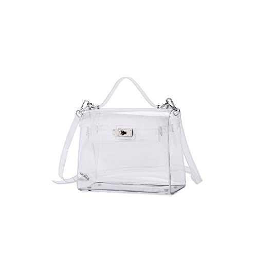 Lam Gallery Women's PVC Clear Purses Transparent Shoulder Handbags for Stadium Concert Working Plastic See Through Cross Body Bags-Silver Hardware
