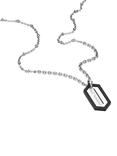Diesel DX0995040 Stainless Steel Military Dog Tags Logo Necklace in Gift Box