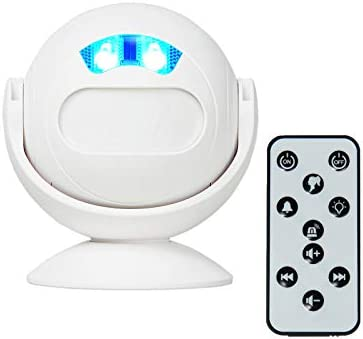 [해외]GREENCYCLE Wireless PIR Motion Sensor Entrance Alert Chime Home Welcome Doorbell for Shop Office Villa Restaurant - IR Remote Control 36 Melodies Volume Adjustable LED Night Light Mode (1 Pack) / GREENCYCLE Wireless PIR Motion Sens...