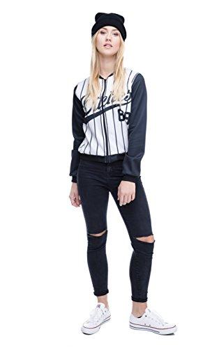 Las mujeres de las niñas Bomber chaqueta recortada Emoji Otoño totalmente impreso corto párrafo con cremallera Varsity–Chaqueta de béisbol Party Hard 69