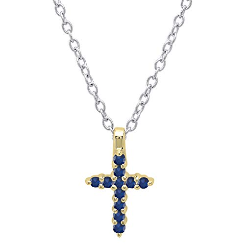 Dazzlingrock Collection 10K Round Blue Sapphire Ladies Cross Pendant (Silver Chain Included), Yellow Gold -