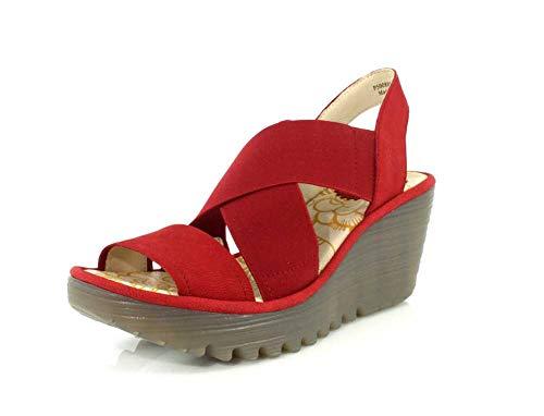FLY London Women's Yaji Wedge Heel Sandals 38 C (M) EU/ 7.5 B(M) US Lipstick Red Cupido