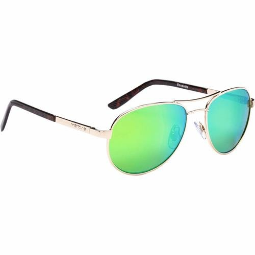 b56ac03de3 Amazon.com   Optic Nerve Vendetta Polarized Wire Sunglasses - Shiny Gold  Frame with Polarized Brown with Green Mirror Lens   Sports   Outdoors