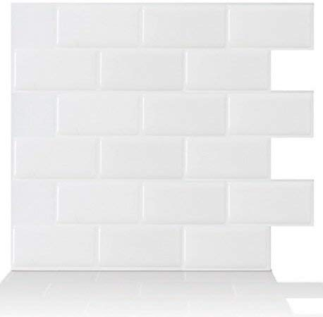 Tic Tac Tiles 10Sheet Peel and Stick Self Adhesive Removable Stick On Kitchen Backsplash Bathroom 3D Wallpaper Tiles in Subway White