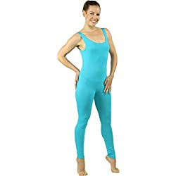 Stretch is Comfort Women's Plus Size Teamwear Cotton Tank Unitard Turquoise X-Large