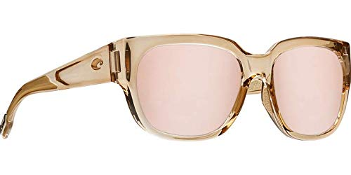 (Costa Del Mar - Waterwoman - Shiny Blonde Crystal Frame-Copper Silver Mirror 580 Poly Polarized Lenses)