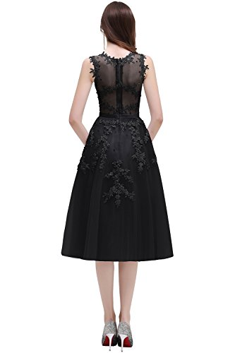 Spitze Schwarz Babyonlinedress® Abendkleider Midi Tüll Perlen Damen wxqT8qI