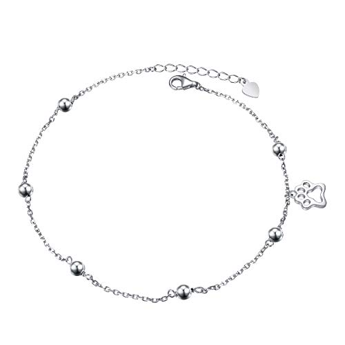 Paw Print Dog - S925 Sterling Silver Anklet for Women Girl Dog Paw Ankle Bracelet Adjustable Foot Chain Birthday Mother's Day Gift Jewelry (Paw)