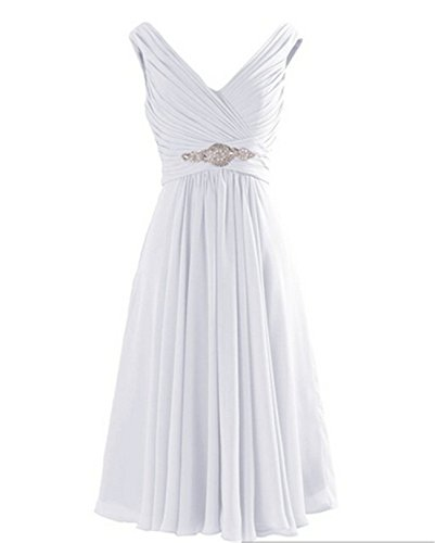 Yougao Women's V Neck A-Line Knee Length Chiffon Evening Party Dresses US 2 White
