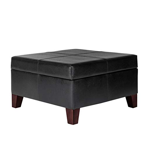 (HomePop Faux Leather Square Storage Ottoman Coffee Table with Wood Legs, Black)