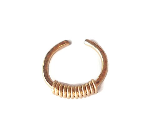- Fake Septum Ring,Nose Ring,cartilage,helix,tragus,ear hoop earring 18 Gauge 10mm Diameter,Non Pierced Hammered 14K Gold Filled Wrapped,Beaded