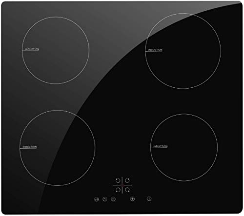 NOXTON Electric Induction Cooktop Stove Built-in 4 Burners Induction Cooker Black Glass with Touch Control Child Lock Timer Hard Wire Easy Cleaning 6400W 220~240V