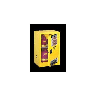 "JUSTRITE MANUFACTURING 891500 Yellow 18 Gauge CR Steel Sure-Grip EX Compac Flammable Safety Cabinet with 1 Manual-Close Door, 15 gal Capacity, 23.25"" W x 44"" H x 18"" D, 1 Shelf"