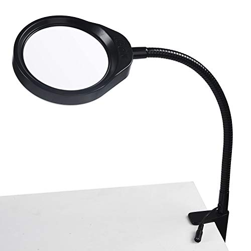(Holulo Desktop Magnifying glass 48 LED 8X Magnifying Lamp Lighted Magnifier with Stand & Clamp,Daylight Adjustable Clip-on Flexible Craft for Reading, Hobbies,Low Vision,Task Crafts or Workbench)