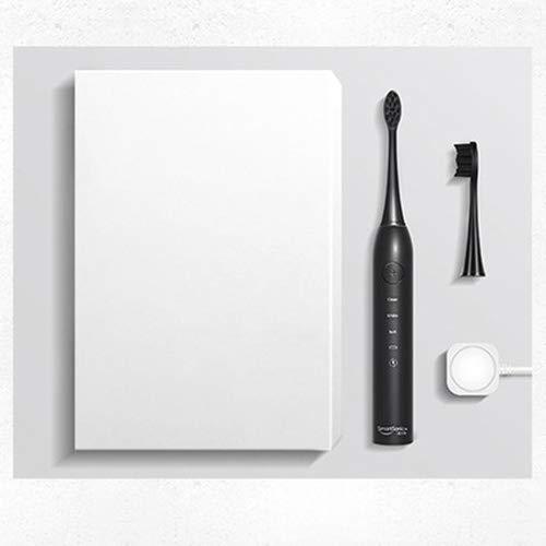 電動歯ブラシ振動ディープクリーニング用再充電式歯ブラシスマートタイマー8ブラシヘッド IPX7 防水シャワー (白),Black B07MH55ND4 Black