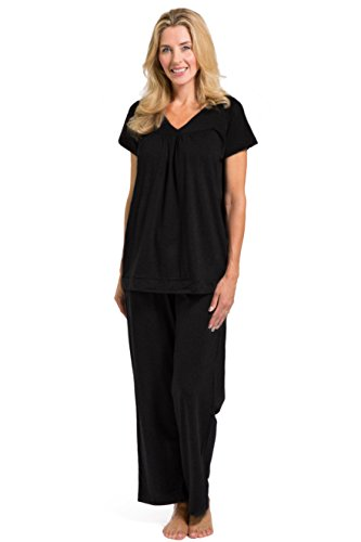 Fishers Finery Eco-fabric Women's Pajama Set Sleepwear, Comfort Fit Top and Pants (X-Large, Black)