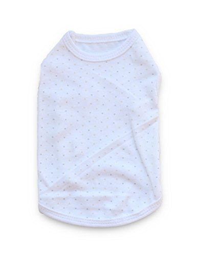 DroolingDog Pet Dog Clothes Light Dots Printing Lovely Pure White Vest Cotton Shirt Daily Summer Dogwear for Small Dogs, Large, (Clothes Dogs)