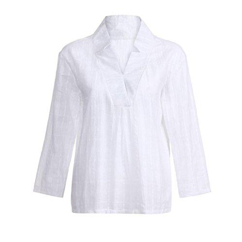 Vdcontract col Manches Femmes MuSheng T Tops en en et Coton Shirt Blanc Longues Chemisier ZwAq8