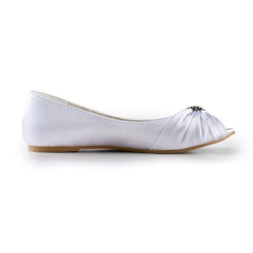 3683 Pumps Dance Prom Jia Peep Wedding Flat shoes White Bridal Party Wommen toe Jia Satin zxzOTEB