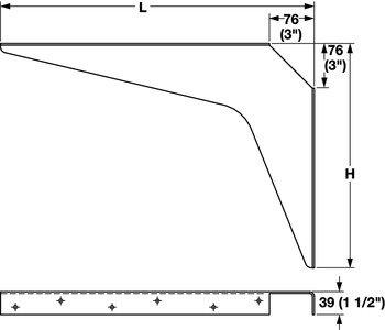 Work Surface Brackets, Rigid, 24 x 24'' (L x H); Black