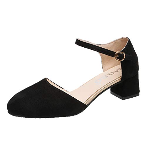 Summer 2019 New Women's Summer Retro Casual High Heel Single Sandals Shoes Outdoor Girls Fashion Solid Shallow Round Toe Shoes (Black, US:6)