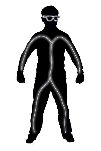 GlowCity Light Up Stick Figure Costume Kit Includes Lights, Shades and Clips Only-Clothing Not Included-White Reg -