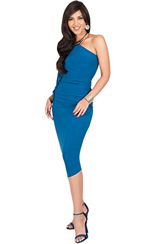 KOH KOH Womens One Off The Shoulder Sexy Long Formal Cocktail Bridesmaid Evening Elegant Wedding Guest Night Party Summer Sun Midi Dress Dresses For Women, Blue Teal M 8-10 (1)